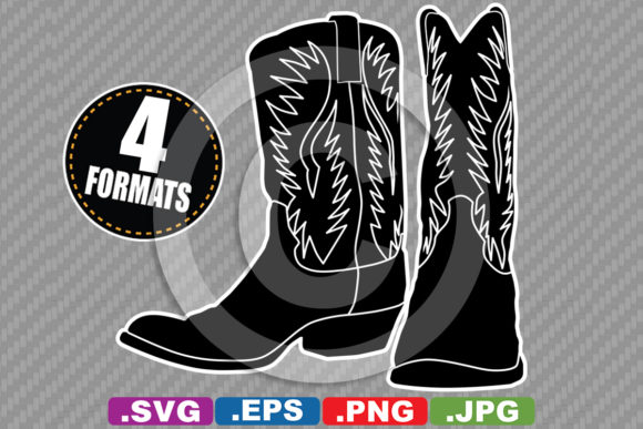 Western Cowboy / Cowgirl Boot Silhouette Graphic Illustrations By iDrawSilhouettes
