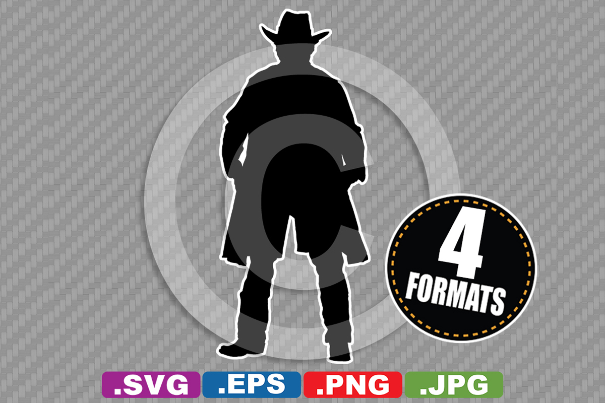Download Free Western Cowboy Silhouette Graphic By Idrawsilhouettes Creative for Cricut Explore, Silhouette and other cutting machines.