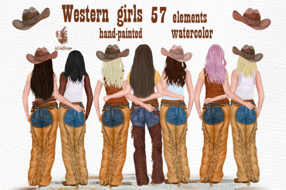 Western Girls Graphic Illustrations By LeCoqDesign