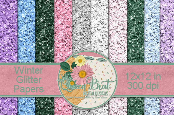 Print on Demand: Winter Glitter Backgrounds Graphic Backgrounds By QueenBrat Digital Designs