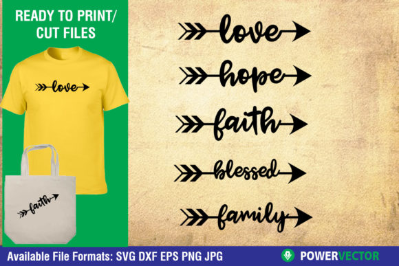 Download Free Word Arrow Love Hope Faith Graphic By Powervector Creative Fabrica for Cricut Explore, Silhouette and other cutting machines.