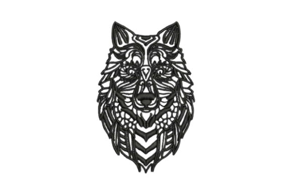 Zentangle Wolf Zentangle Embroidery Design By Embroidery Designs