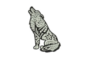 Zentangle Wolf Howling Zentangle Embroidery Design By Embroidery Designs