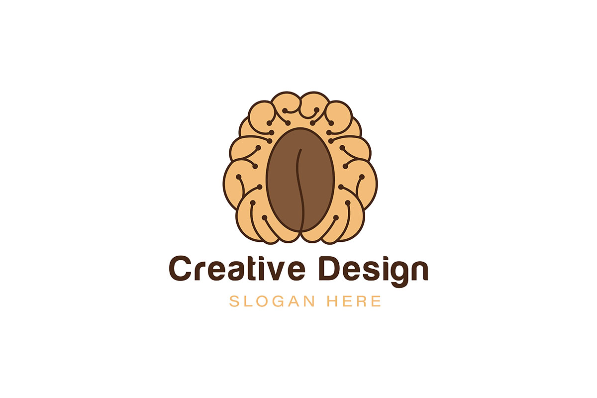 Download Free Brain Coffee Logo Ideas Inspiration Log Graphic By for Cricut Explore, Silhouette and other cutting machines.