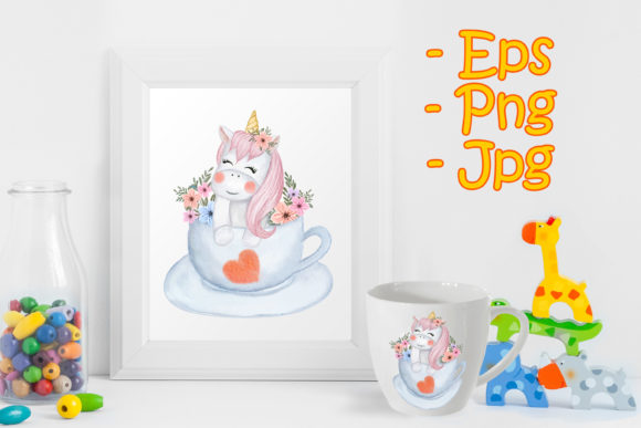 Print on Demand: Cute Baby Unicorns with Flowers on a Cup Graphic Illustrations By OrchidArt