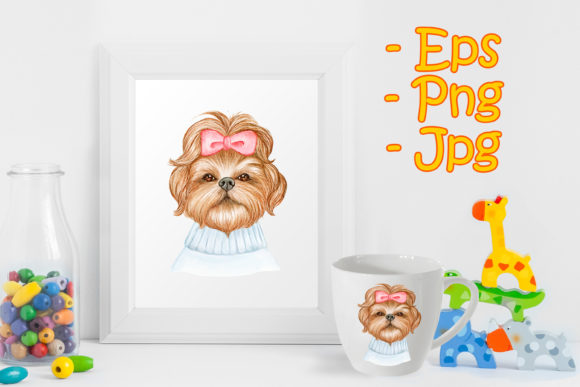 Print on Demand: Cute Shih Tzu Dog with Ribbon Graphic Illustrations By OrchidArt