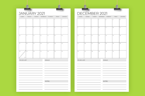 Print on Demand: 11 X 17 2021 Calendar Graphic Graphic Templates By Running With Foxes