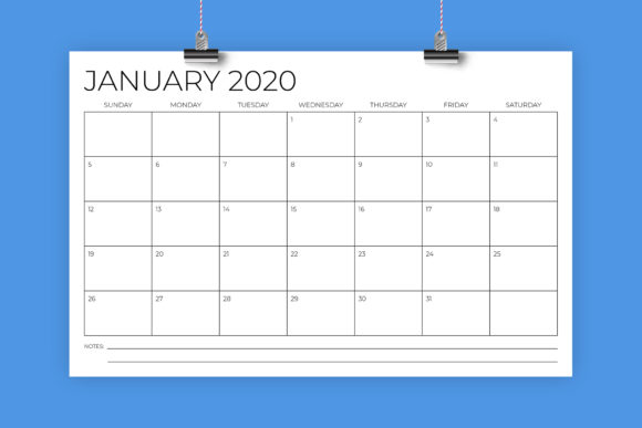 Print on Demand: 11 X 17 Modern 2020 Calendar Graphic Print Templates By Running With Foxes - Image 1