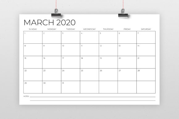 Download Free 11 X 17 Modern 2020 Calendar Graphic By Running With Foxes for Cricut Explore, Silhouette and other cutting machines.