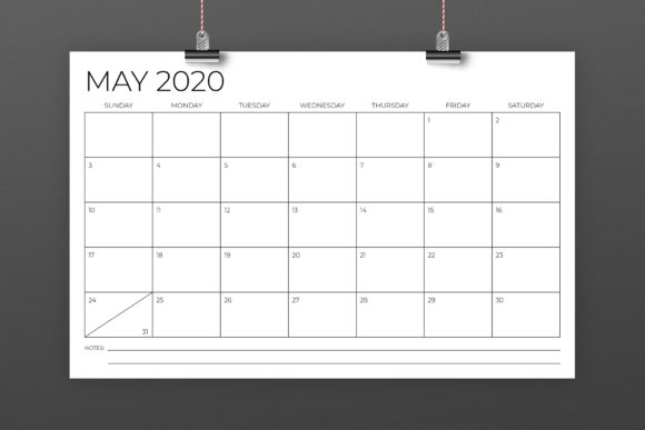 Print on Demand: 11 X 17 Modern 2020 Calendar Graphic Print Templates By Running With Foxes - Image 3