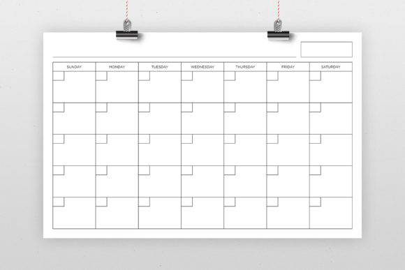 Print on Demand: 11x17 Blank Calendar Page Graphic Graphic Templates By Running With Foxes