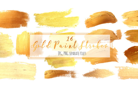 16 Gold Paint Strokes Graphic Objects By lena-dorosh