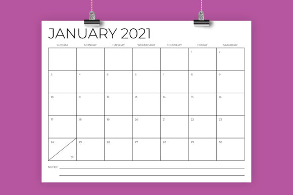 Print on Demand: 8.5 X 11 2021 Calendar Graphic Graphic Templates By Running With Foxes