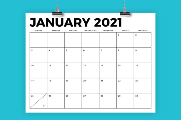 2021 Calendar 8.5 X 11 8.5 X 11 Bold 2021 Calendar (Graphic) by Running With Foxes