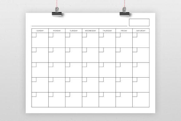 Print on Demand: 8.5x11 Blank Calendar Page Graphic Graphic Templates By Running With Foxes - Image 1