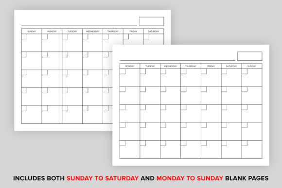 Print on Demand: 8.5x11 Blank Calendar Page Graphic Graphic Templates By Running With Foxes - Image 3