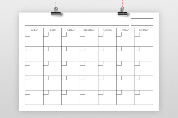 A4 Blank Calendar Page Template Graphic