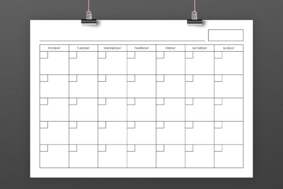 A4 Blank Calendar Page Template Graphic Download