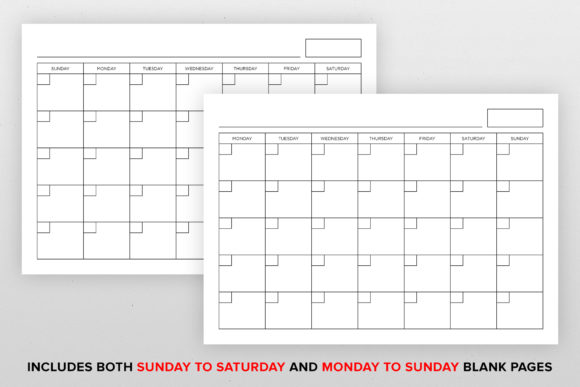 A4 Blank Calendar Page Template Graphic Item