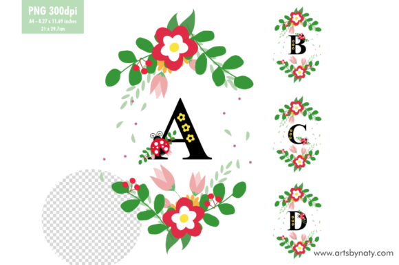 Print on Demand: ABCD Letters Ladybug Graphic Illustrations By artsbynaty