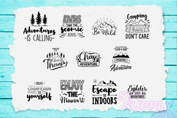 Print on Demand: Adventure Quotes T-shirt Design Bundle Graphic Print Templates By svgsupply