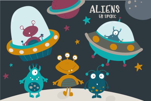 Print on Demand: Aliens in Space Graphic Illustrations By poppymoondesign - Image 1