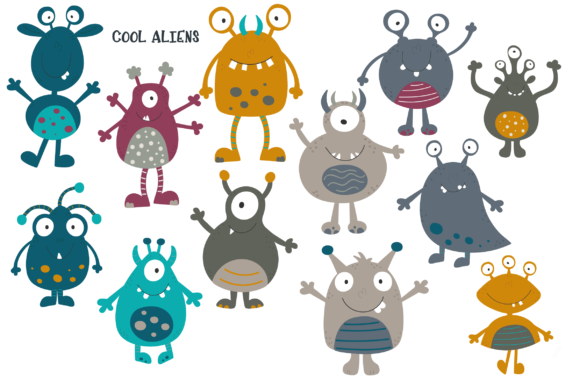 Print on Demand: Aliens in Space Graphic Illustrations By poppymoondesign - Image 2
