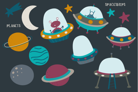 Print on Demand: Aliens in Space Graphic Illustrations By poppymoondesign - Image 3