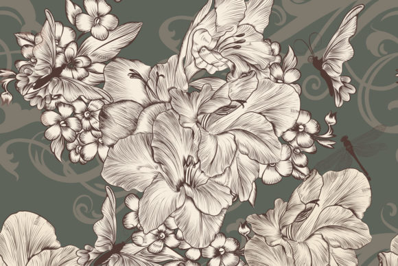 Beautiful Wallpaper with Flowers Graphic Patterns By fleurartmariia
