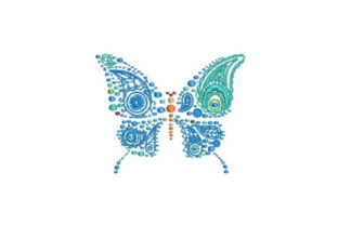 Blue Butterfly Paisley Stickdesign von Embroidery Designs