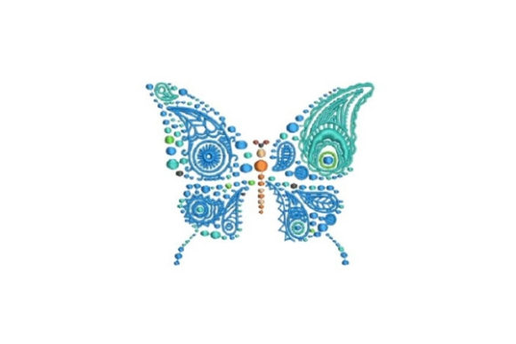 Blue Butterfly Paisley Embroidery Design By Embroidery Designs