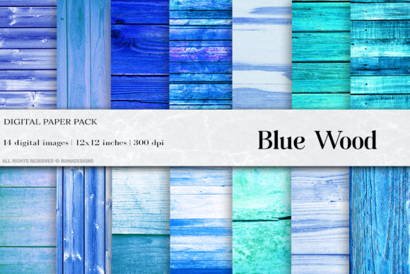 Blue Wood Digital Papers Graphic Backgrounds By BonaDesigns