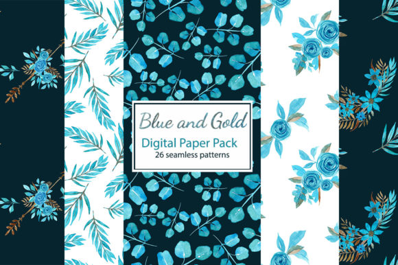 Print on Demand: Blue and Gold Floral Digital Paper Pack Graphic Patterns By s.yanyeva