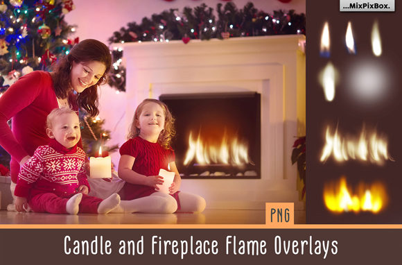 Print on Demand: Candle and Fireplace Flame Overlays Graphic Layer Styles By MixPixBox