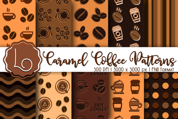 Print on Demand: Caramel Coffee Patterns Graphic Patterns By La Oliveira - Image 1