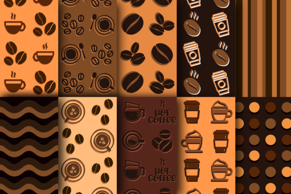 Print on Demand: Caramel Coffee Patterns Graphic Patterns By La Oliveira - Image 2