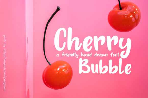 Download Free Cherry Bubble Font By Roland Huse Design Creative Fabrica for Cricut Explore, Silhouette and other cutting machines.