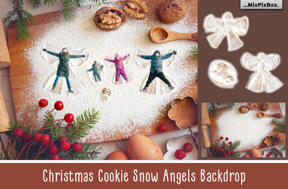 Print on Demand: Christmas Cookie Snow Angel Backdrop Graphic Layer Styles By MixPixBox