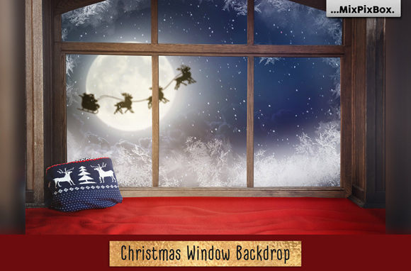 Print on Demand: Christmas Window Backdrop Graphic Layer Styles By MixPixBox