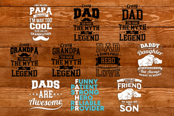 Print on Demand: Dad Design Bundle Graphic Print Templates By svgsupply