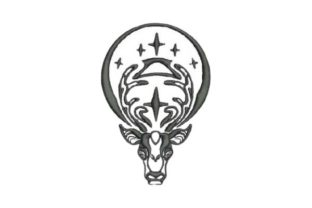 Deer in Gothic Style Woodland Animals Embroidery Design By Embroidery Designs