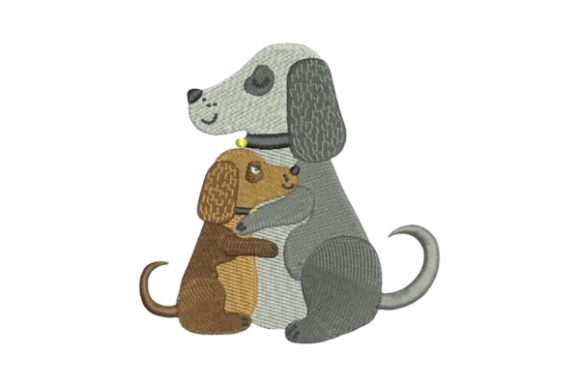 Dog and Puppy Embracing Dogs Embroidery Design By Embroidery Designs