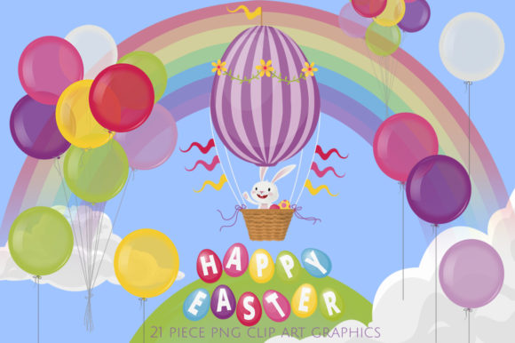 Easter Bunny Hot Air Balloon Ride Graphic Illustrations By Dapper Dudell
