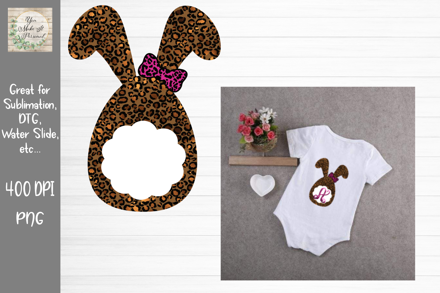 Download Free Easter Bunny Leopard Graphic By You Make It Personal Creative for Cricut Explore, Silhouette and other cutting machines.
