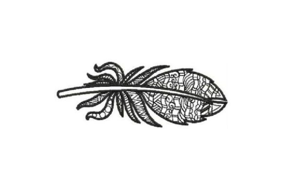 Feather Black Pattern Boho Embroidery Design By Embroidery Designs