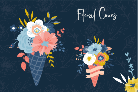 Print on Demand: Floral Cones Graphic Illustrations By poppymoondesign