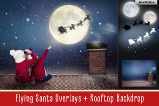 Print on Demand: Flying Santa Overlays Graphic Layer Styles By MixPixBox