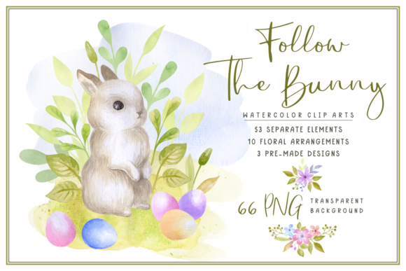 Download Free Follow The Bunny Watercolor Graphic By Olga Belova Creative for Cricut Explore, Silhouette and other cutting machines.
