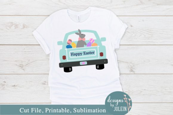 Download Free Happy Easter Truck Graphic By Designs By Jolein Creative Fabrica for Cricut Explore, Silhouette and other cutting machines.