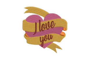 Heart with Ribbon I Love You Valentine's Day Embroidery Design By Embroidery Designs